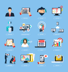 crm system flat icons set vector image