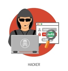 Cyber Crime Concept with Hacker vector image