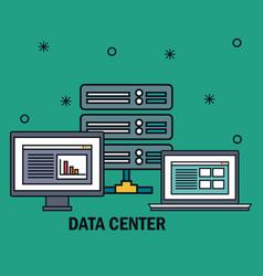 Desktop computer with data center icons vector