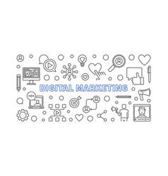 digital marketing linear horizontal banner vector image