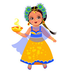 Diwali holiday and little girl with flame bowl vector