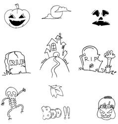 Doodle Halloween flat element vector image