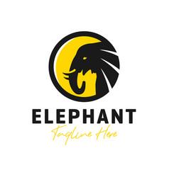 Elephant head circle inspiration logo vector