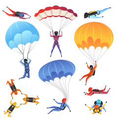 Extreme parachute sport adrenaline characters vector