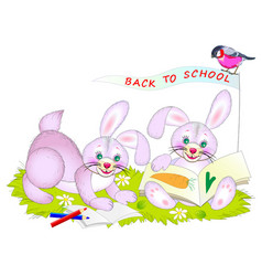 Fantasy drawing for kids cute little rabbits vector