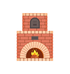 Fireplace with fire burning inside isolated icon vector