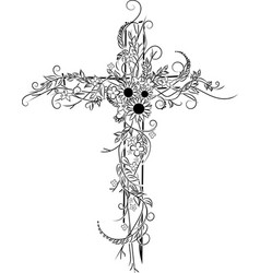 Flower tattoo cross decor vector