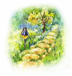 Garden stone path with lantern summer watercolor vector