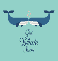 get whale soon word with cute whales vector image