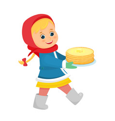 girl with pancakesmaslenitsa vector image