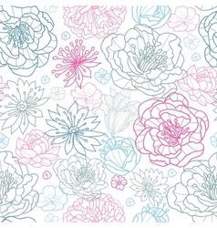 Gray and pink lineart florals seamless pattern vector image