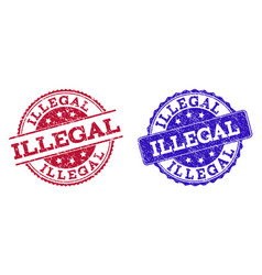 Grunge scratched illegal seal stamps vector