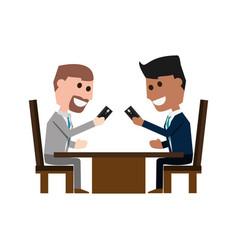 Guys with smartphones cartoon vector