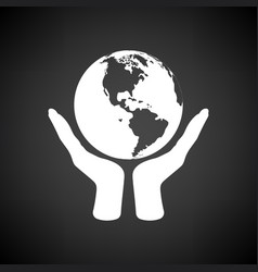 hands holding planet icon vector image
