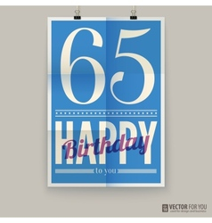 Happy birthday poster card sixty-five years old vector