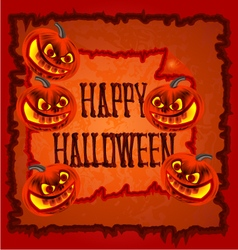 Happy Halloween frame with pumpkins vector image