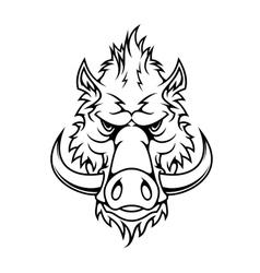 Head a fierce wild boar vector