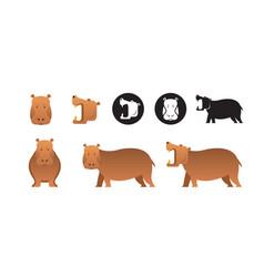 hippopotamus set vector image