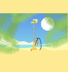hookah on tropical sandy beach green palm tree vector image