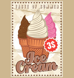 Ice cream colorful vertical banner or poster vector