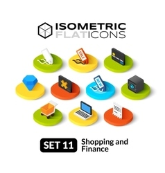 Isometric flat icons set 11 vector