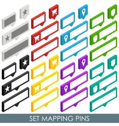 Isometric set mapping cloud pins vector