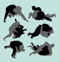 Judo fight sport silhouette vector