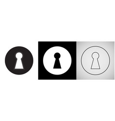 Keyhole isolated icons door key hole with light vector