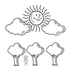 kid sun tree nature cartoon design vector image