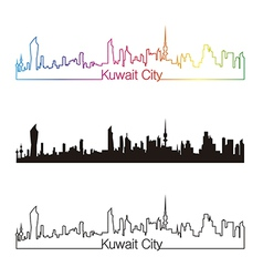 Kuwait City skyline linear style with rainbow vector image