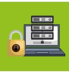 Laptop padlock data base vector