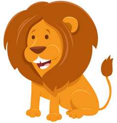 lion cartoon wild animal character vector image