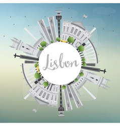 Lisbon City Skyline with Gray Buildings vector