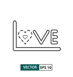 love icon outline style isolated on white vector image