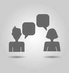 male and female socializing speech bubble icons vector image