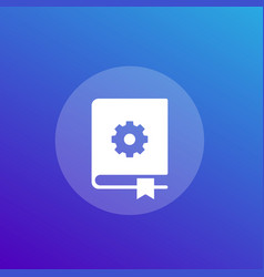 Manual instructions book icon vector