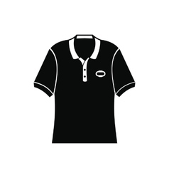 Men polo shirt black simple icon vector image