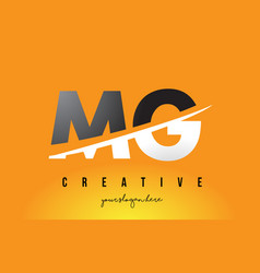 Mg m g letter modern logo design with yellow vector