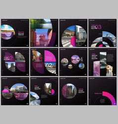 minimal brochure templates with pink color circles vector image