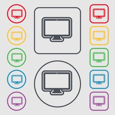 monitor icon sign symbol on the Round and square vector image