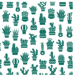 monochrome pattern with cacti in plant pots vector image