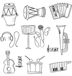 Music instrument pack doodles vector