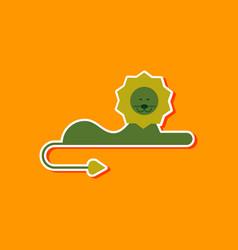 paper sticker on stylish background cartoon lion vector image