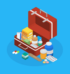Pharmaceutical production suitcase isometric vector
