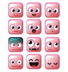 Pink squares emoticon vector