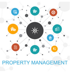 Property management trendy web concept with icons vector