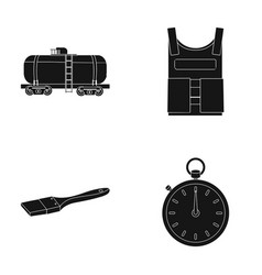railway tank bulletproof vest and other web icon vector image