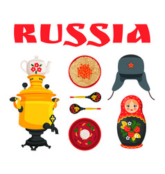 russia culture element collection on white tint vector image