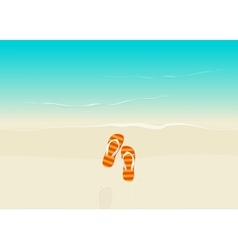Sand beach with flip flops vector