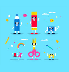 School supply funny character set for children vector